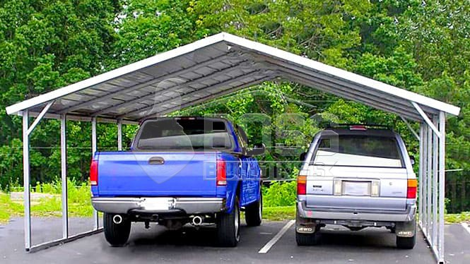 Two car carport with a Truck and a Car