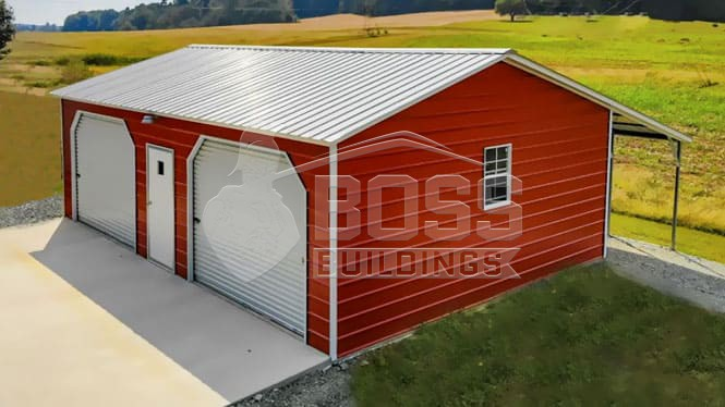Side entry garage with a lean to