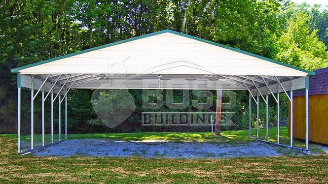 28×26 A-Frame Roof Carport with 1/2 panels
