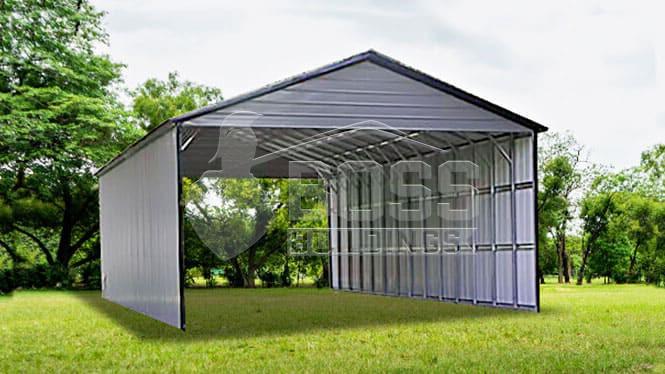 28×56 Vertical roof RV carport w/vertical sides