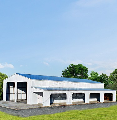 Clear Span Farm Building with a Lean-to for Storage
