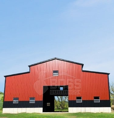 Two-tone All Enclosed Metal Barn Structure in a Virginia Farm