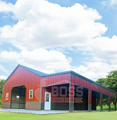 Barn Red and Quaker Gray Two Tone Garage with Lean-To