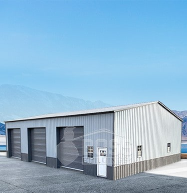 Three-car Garage with roll-up doors and a walk-through door