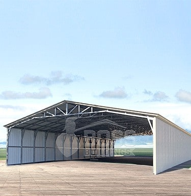 Commercial Shed with vertical siding and ladder style truss